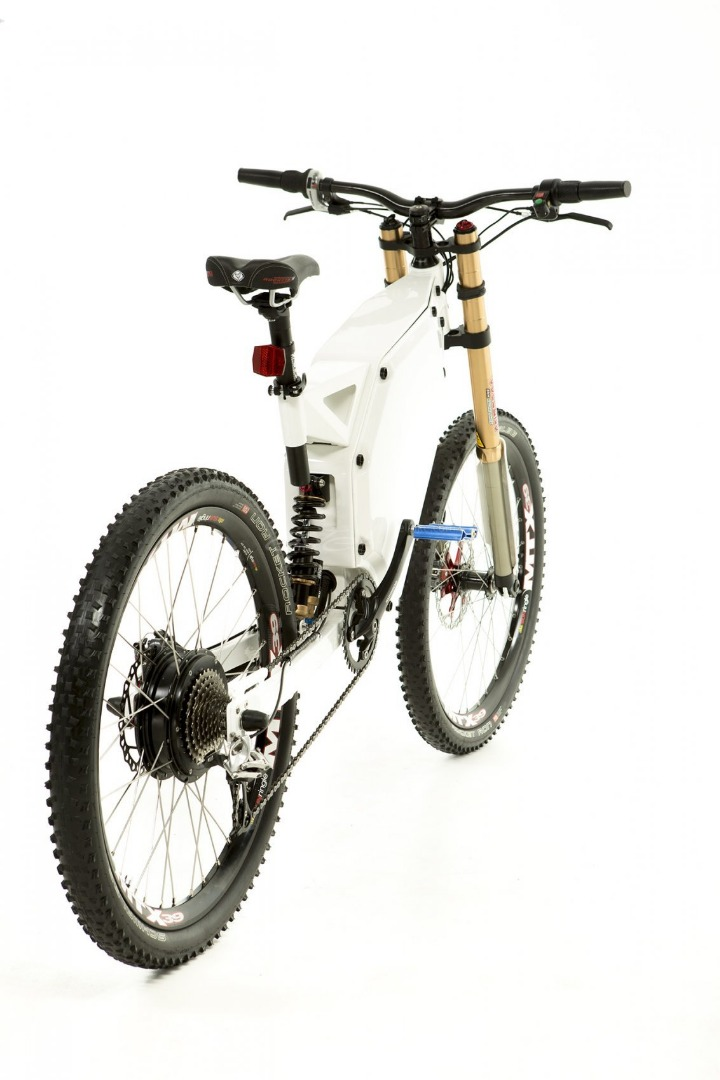 Electric Enduro Bike Frameset White Frameset